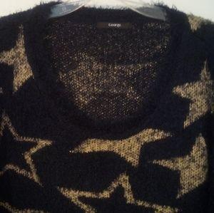 George Shaggy Boxy V neck Sweater Stars
